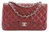 Chanel Classic Flap Classic Double Quilted Caviar Jumbo Red Leather Shoulder Bag