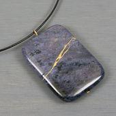 Kintsugi repaired purple dumortierite pendant on black cotton cord   – Products