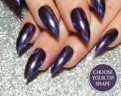 Chrome Press On Nails – Stiletto Fake Nails – Pointy False Nails – Mirror Nails – Metallic Nails – R