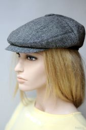 Grey tweed newsboy cap Womens newsboy hat Mens wool hat Driver cap Peaky Blinders hat gray Ca…