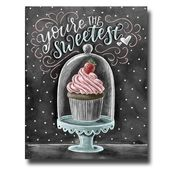Cupcake Art, Table Art, Cupcake Print, Valentines Day, Love Sign, Cupcake Stand, Chalk Art, You're the cutest, bakery sign