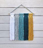 Photo of Large Custom Macrame Wall Hanging, Modern Minimalist Woven Wall Hanging, Mustard Blue and Gray, Nurs