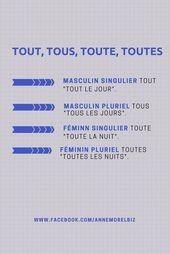 French grammar – Tout, Tous, Toute, Toutes
