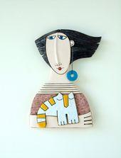Mädchen mit rotem Kleid und weißer Katze Handmade Ceramics Ceramic | Etsy   – Ceramics Wall Art by Makedonska Ceramic Art