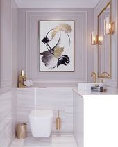 LOVE THIS MAGNIFIQUE BATHROOM WHICH FEELS SO ELEGANT WITH THE SOFT MAUVE & WHITE…