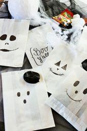DIY Halloween Süßigkeiten Verpackung aus Papiertüten