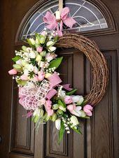 Spring Wreaths for Front Door Wreaths Tulip Wreaths Spring Outdoor Wreaths Spring Door  Wreath Pink Wreaths Summer Wreaths Spring Door Decor