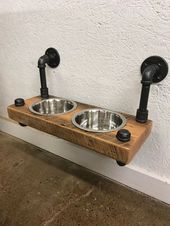 Reclaimed Barn Wood Floating Raised Dog Feeder