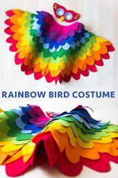 Rainbow Bird Costume, Kids Costume, Bird Dress up Costume, Colourful Halloween Costume, Bird Wing Cape and Mask, Toddler Girl Boy Costume