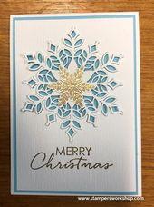 Frohe Weihnachten (Schneefall Thinlits / Ich werde zu Hause sein) – Stampers Workshop   – card ideas