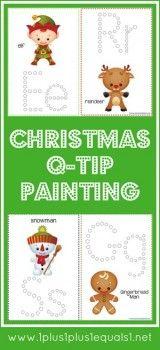 Free Christmas Fun Q-Tip Painting Printables – Homeschool FREEbies