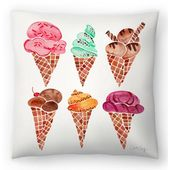 "East Urban Home Cat Coquillette Conos de helado Rainbow Throw Pillow Size: 18 ""x 18""   – Painting. Ideas"