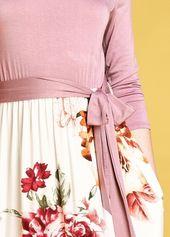 Corinne Dress – Mauve/Ivory