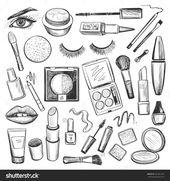 Handgezeichnete Beauty- und Make-up-Symbole mit Mascar … – #Beauty #drawn #Hand #icon #Icons