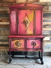 SOLD **  Painted Furniture – Antique China Cabinet – Eclectic Furniture  – Boho Style  – Haus 421