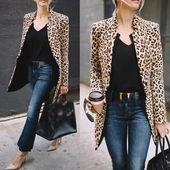 Leopard Jacke Frauen Pullover Top Warm Lässige Winter Strickjacke Langarm Mantel