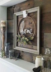 adorable farmhouse gray frame with embroidery hoop wreath, natural greenery with… #woodworkingsbedroom