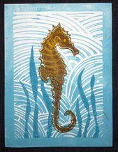 Lino Print Seahorse Original Linocut Print Limited Edition