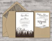 Rocky Mountains Brown Wood Wedding Invitation Sample | Flat or Pocket Fold Invite | Ombre Mountain | Trees | Wood | Glitter | Foil