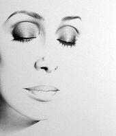 Cher Bleistift Zeichnung Fine Art Portrait signiert Druck