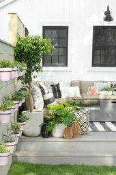 Terrasse, Gartenideen, grau, Topfgarten, kleiner Anbau, Garten …   – Places to Visit