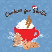 Photo of Weihnachtsgrußkarte, Wintereinladung mit roter Schale des heißen Getränks. Kakao oder Kaffee dekoriert mit