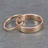 Rose Gold Wedding Ring Set, 2mm and 5mm Rings, 14K Rose Gold, Smooth Polished, Rutledge Jewelers