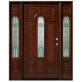Asian Pacific Products Inc. Mahogany Prehung Front Entry Doors With Sidelights Door Orientation: Left Hand/Inswing