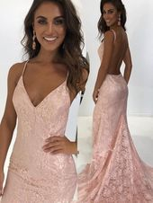 Elegant Straps Mermaid Pink Lace Long Prom Dress with Backless  ML1629 – Classic Beauty