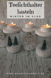 Teelichthalter basteln: Winter im Glas selbst gemacht