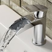 Modern Curved Waterfall Tap | Chrome Waterfall Mixer Tap | soak.com