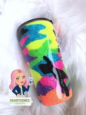 Neon Camo Glitter Tumbler, Custom Glitter Tumbler,  Gifts for Her, Skinny Glitte…  – Products