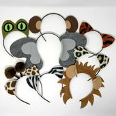 Jungle safari zoo animals theme ears headband birthday party favor costume lion elephant monkey zebra tiger leopard giraffe kid adult baby