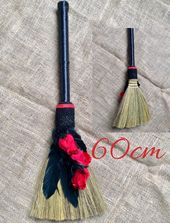 Gothic large witch broom stick decor, red rose feather broomstick home accessory