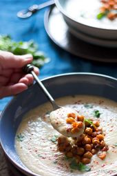 Gingery Parsnip Soup with Spicy Roasted Chickpeas   – Vegan recipes