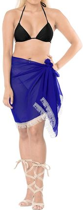 Sheer Chiffon Beach Party Girl Sarong Solid 68″X21″ Royal Blue_5834