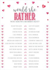 Would She Rather, Who Knows Mommy Best Game, Pink Hearts, Valentine's Day Baby Shower