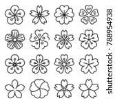Sakura Icons Collection Of 16 Linear Japanese Cherry Blossom Symbols Isolated On A Cherry Blossoms Illustration Cherry Blossom Vector Japanese Cherry Blossom