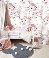 Pink Wall Paper Floral, Wallpaper Wall Mural Removable, Wallpaper Flamingo Mural Wallpaper Peel & Stick, Self Adhesive Wallpaper Nursery #67