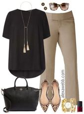 Plus Size Beige Work Pants Outfits