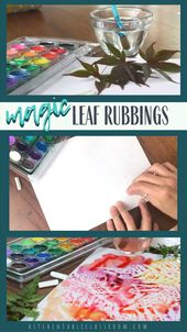 Magic Leaf Rubbing Crayon Resist