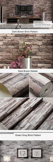 10M 3D Wallpaper Roll PVC Brick Grain Waterproof Wallpaper Natural Wood Pulp Dul…