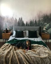 Color-Blocked Furniture and a Moody Forest Mural M…