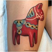 Soooo fun! I tattooed this wooden Dala Horse on @reindeer_age, her first tattoo!…   – Tattoo Inspiration
