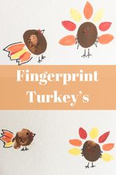 Kleine Truthahn Fingerabdruck Handwerk für den kleinen Truthahn in Ihrem Leben. Süßes L …   – Art For Kids