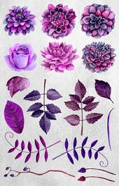 Watercolor purple flowers clip art Boho bouquet Floral clipart Violet cottage chic flowers Plum dahlias hand painted Digital download – Blumen