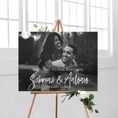 Welcome wedding sign with photo printable personalized, custom bridal shower or wedding entrance welcome photo sign DIGITAL picture sign
