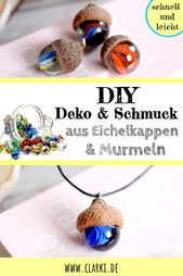 DIY in autumn: decoration from marbles and acorn caps