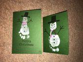 Baby Cards schneemann fußabdruck weihnachtskarten basteln mit kindern
