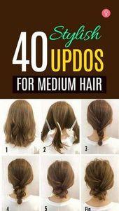 40 stylish updos for medium hair - #hochsteckfrisuren #medical #stilvoll - #new
